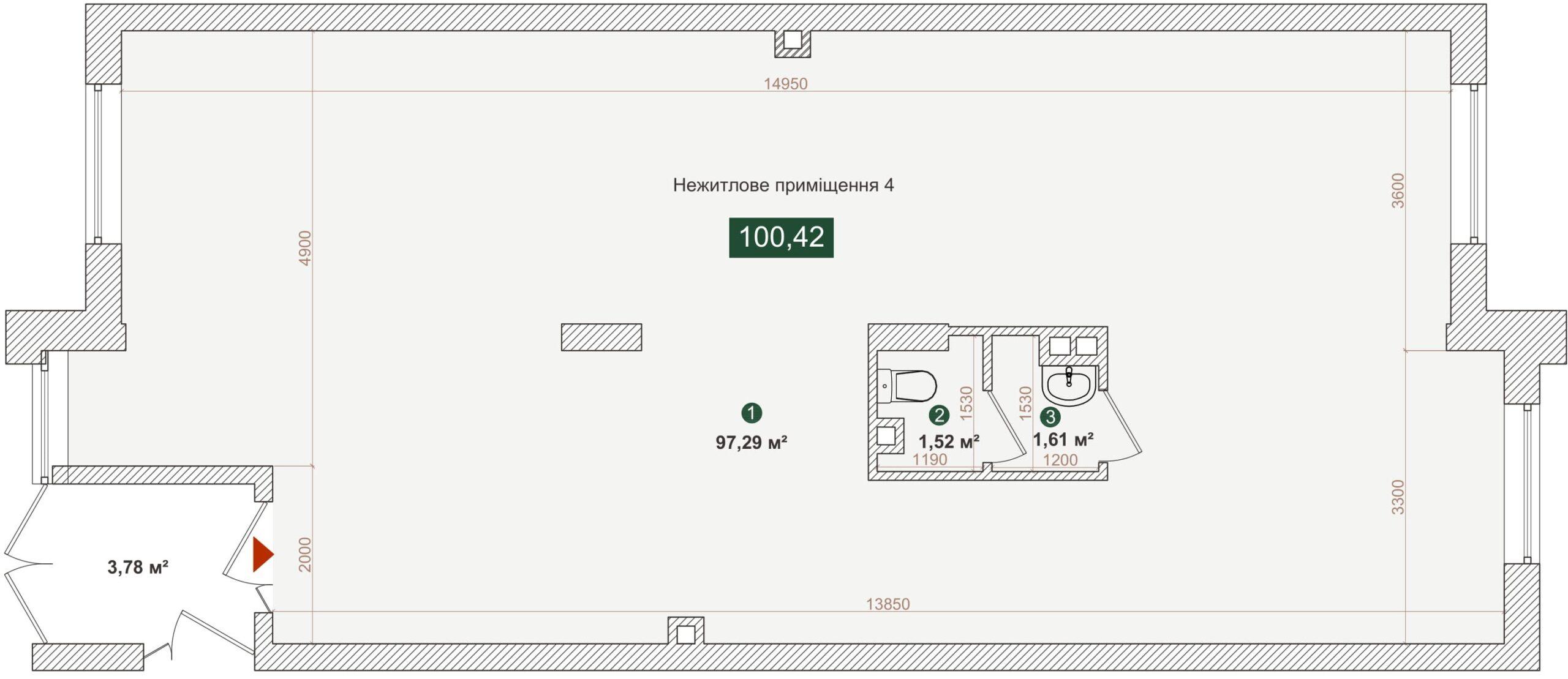 Комерційне приміщення №4, будинок №2, секція A, Дніпроводська,1 у ЖК Forest Park
