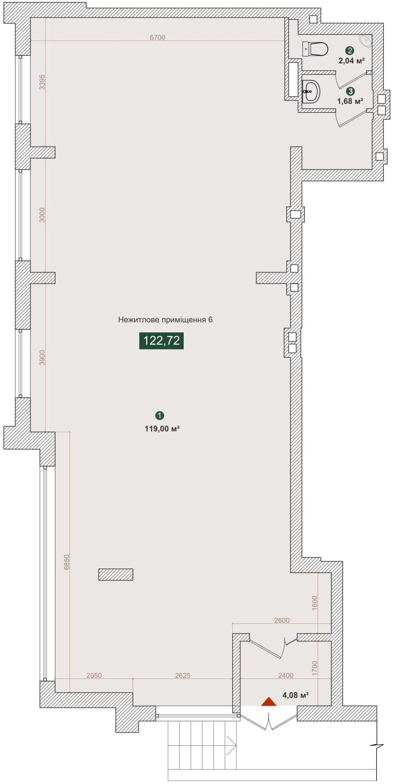 Комерційне приміщення №6, будинок №2, секція A, Дніпроводська,1 у ЖК Forest Park